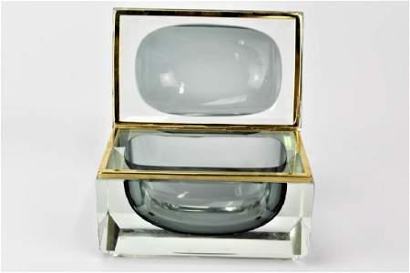 Murano GSE Ottone Galvanizzato Art Glass Casket