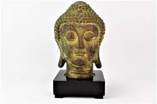 Chinese Bronze Buddha Head 18th C Dupont Estate