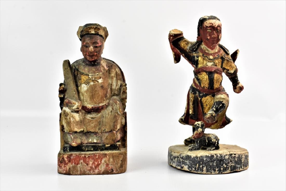 Antique Chinese Parcel Gilt Temple Figures