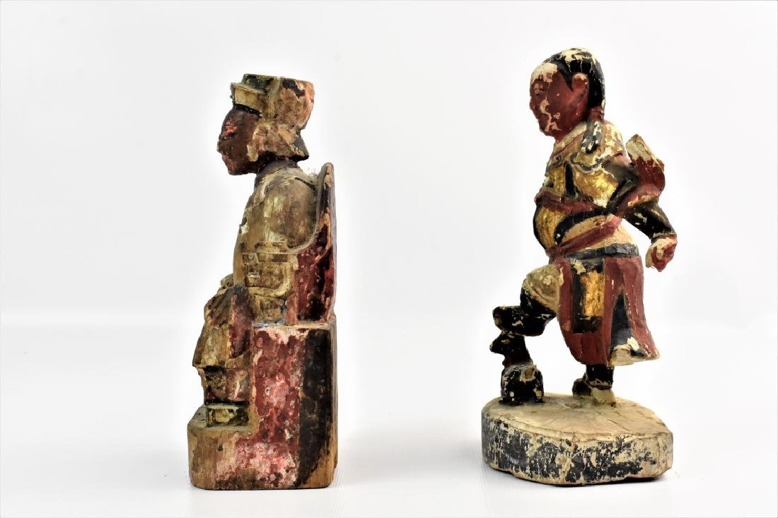 Antique Chinese Parcel Gilt Temple Figures - 4