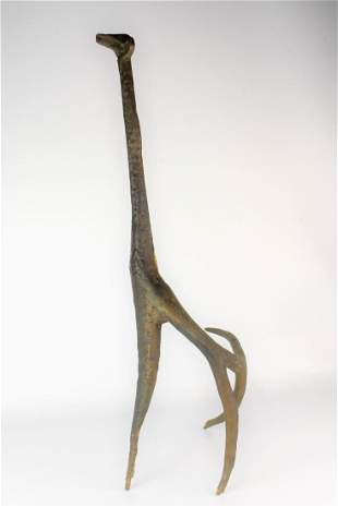 Brutalist Bronze Sculpture of Giraffe
