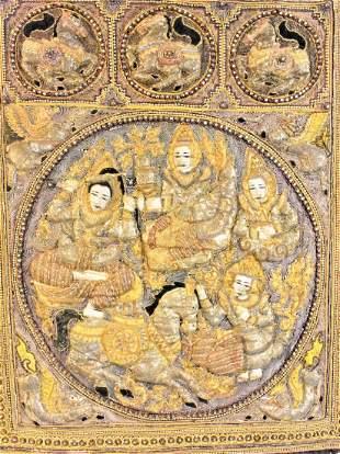 Burmese Kalaga Embroidered Cotton Tapestry Panel