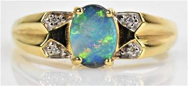 18K Gold Opal and Diamond Accent Ring