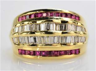 18K Gold Ruby and Diamond Ring