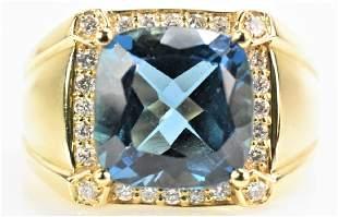 14K Gold, Topaz, and Diamond Ring