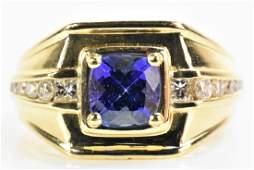 14K Gold, Tanzanite, and Diamond Ring