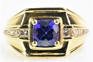 K Gold, Tanzanite, and Diamond Ring