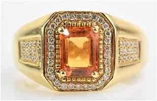 14K Gold, Topaz and Diamond Ring