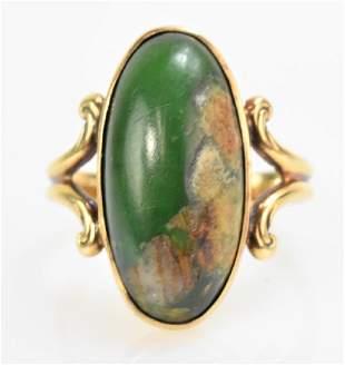14K Gold and Green Jasper Ring