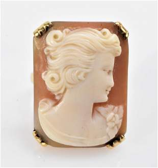 14K Gold and Shell Cameo Ring