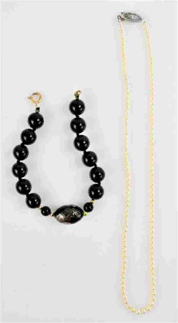 14K Gold & Onyx Necklace Grouping