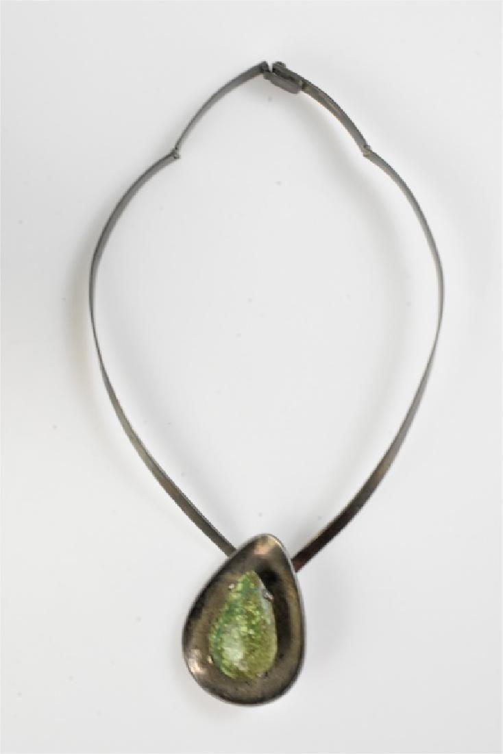 Modernist Sterling & Cabochon Necklace
