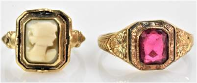 Victorian 10K Gold Cameo Flip Ring Grouping