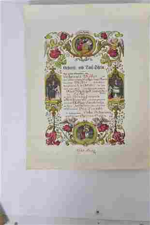 Antique German Baptismal Record Grouping