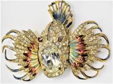 Coro Craft Sterling Rock Fish Brooch