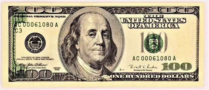 $100 Bill Error note