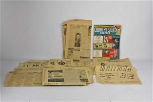 Slim Whitman Ephemera and Newspapers Grouping