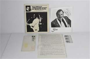 Slim Whitman Signed Photo and Ephemera Grouping