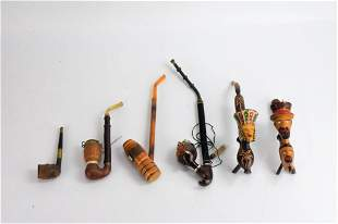 Carved German Figural Pipe Grouping
