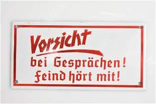 German Enamel Vorsicht Sign