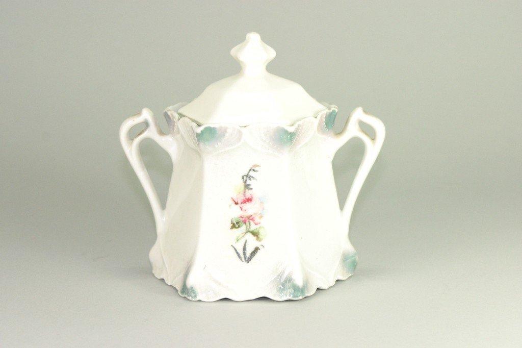 12: Floral painted porcelain sugar bowl, signed