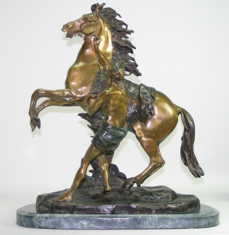 352: Bronze Marly Horse Sculpture after Coustou