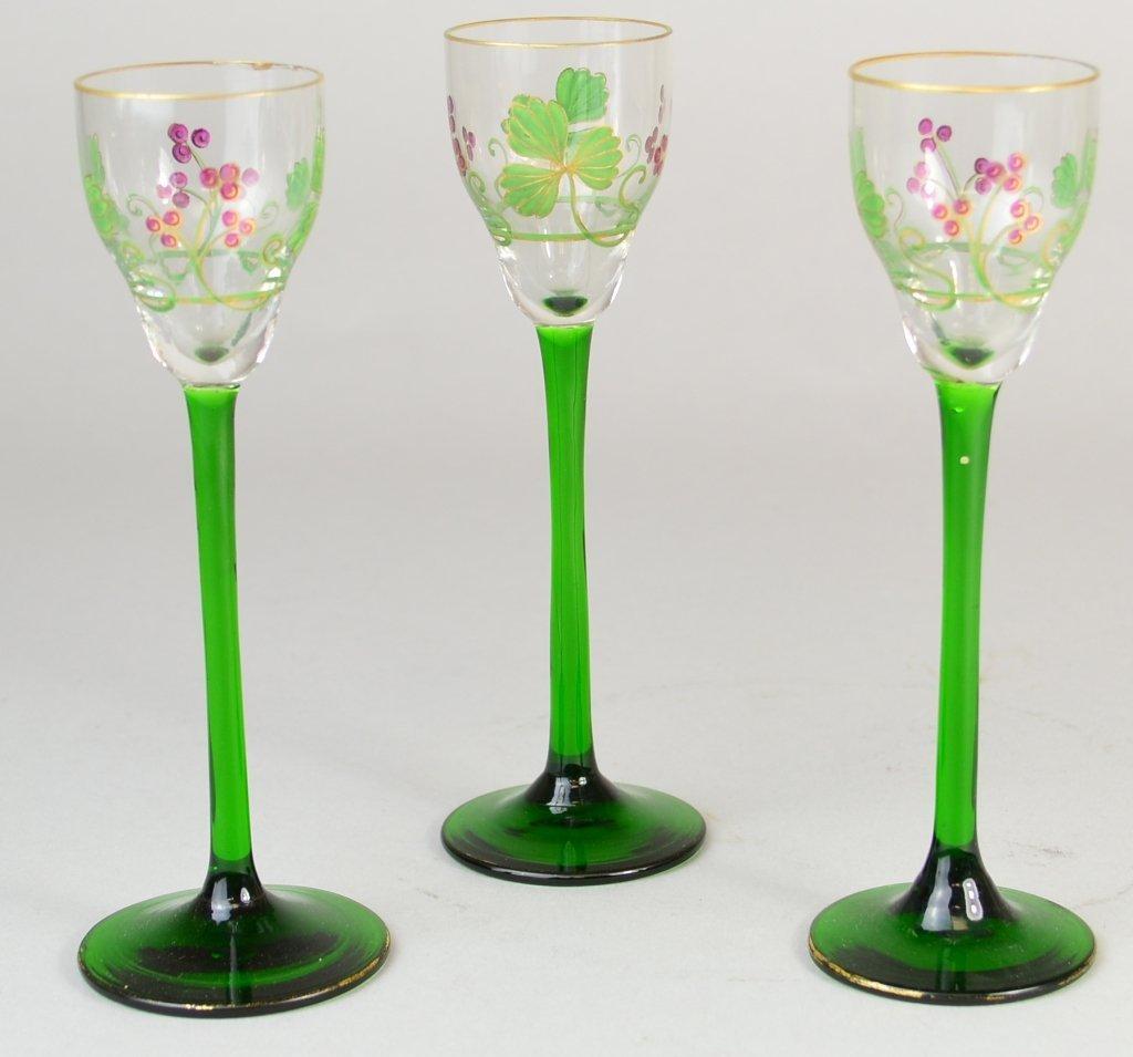 9: (3) Enamel & Gilt, Green Glass Stemware Cordials