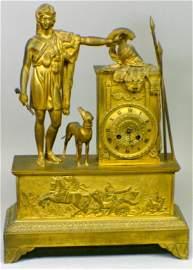 166: French Empire Bronze Gilt Figural Mantle Clock
