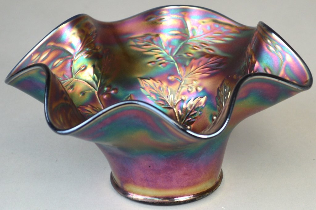 213: Fenton Holly Fluted Blue Carnival Glass Candy Dish