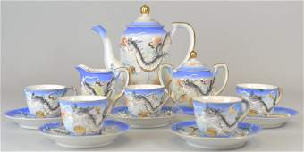 240: Japanese Satsuma Chinese Dragon Tea Set