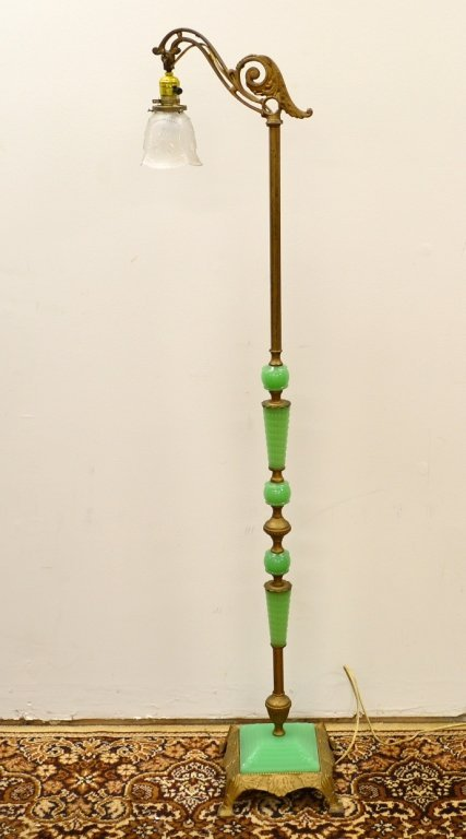20: Jadeite & Ornamental Brass Footed Base Floor Lamp