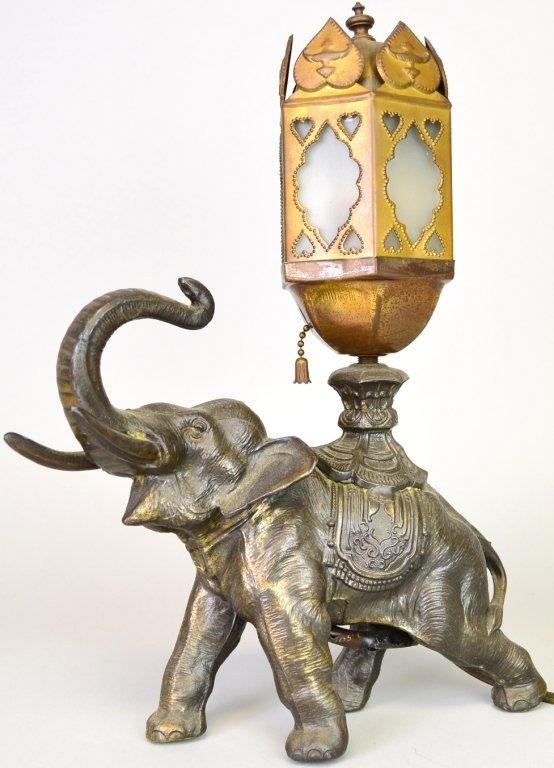 Elephant & Slag Glass lamp