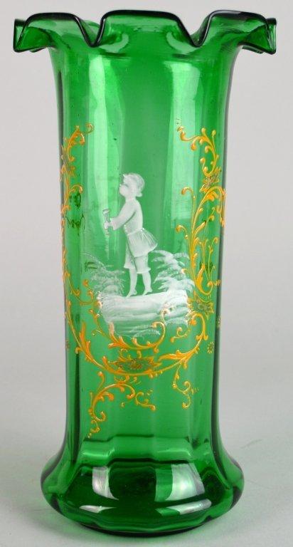 Enameled Moser Type Vase With Vignette