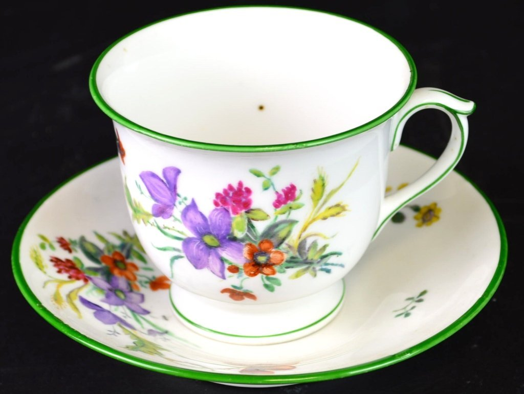 KPM Hand Painted Teacup And Saucer