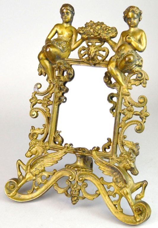 French Gilt & Iron Putti Picture frame