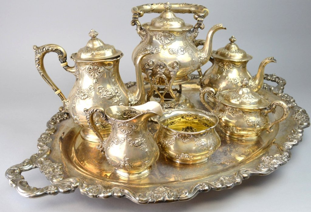 Gorham Repousse Sterling Silver Tea Service