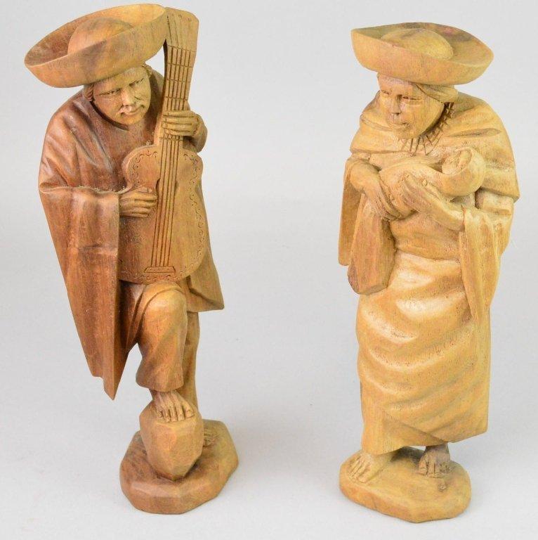 Luis Potosi Figural Wood Sculptures