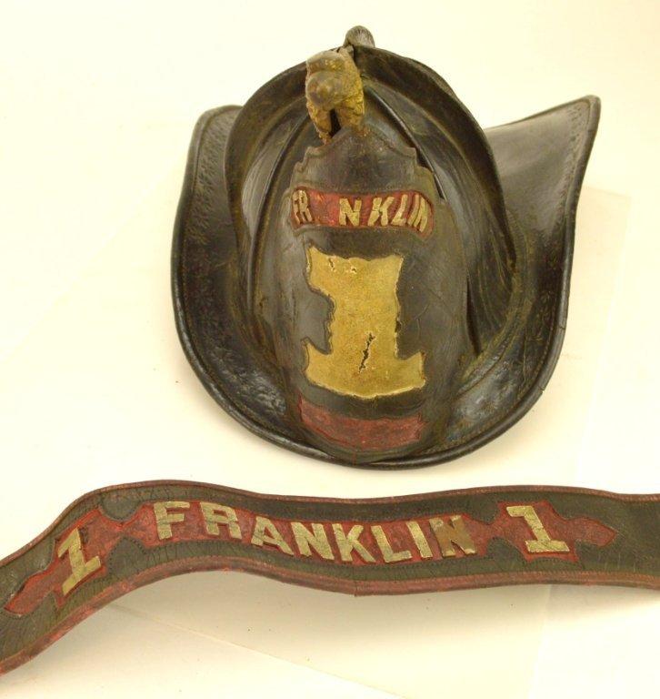 Gratacap High Eagle Leather Fire Helmet &  Parade Belt
