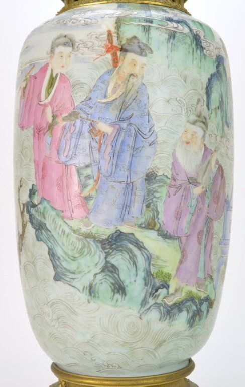 Antique Chinese Famille Rose Vase Eight Immortals