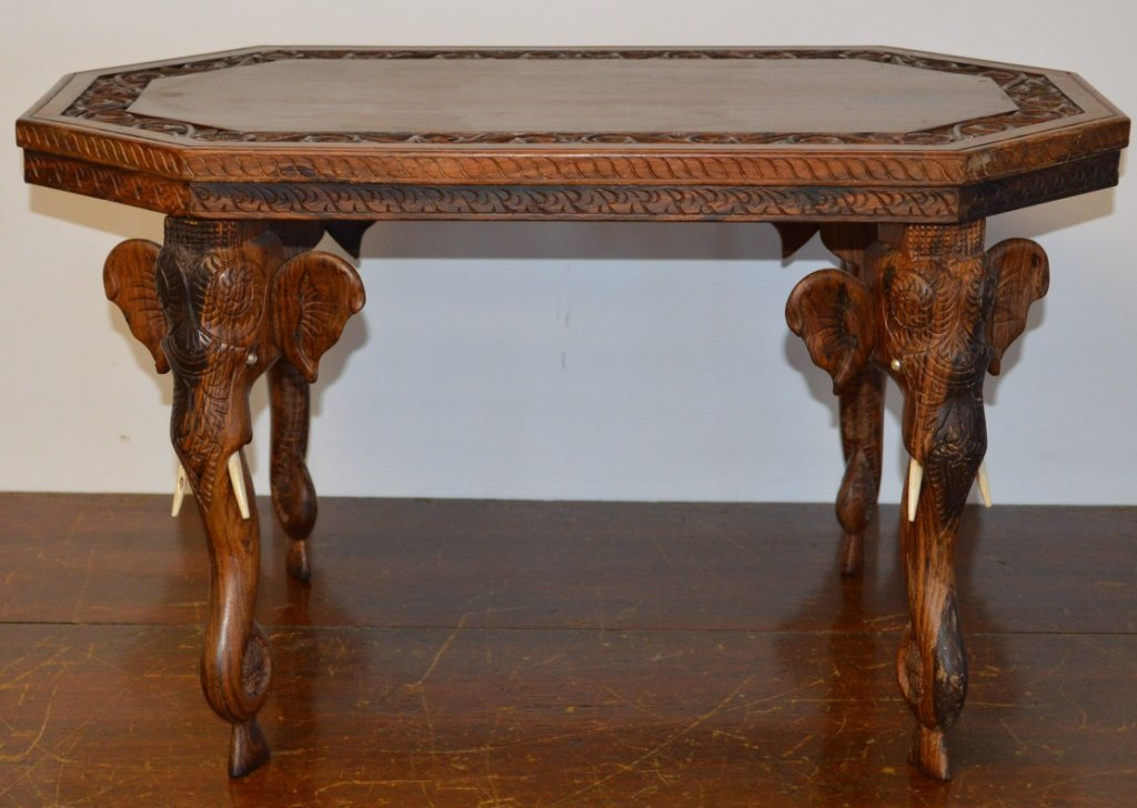 Indian Carved Rosewood Elephant Table