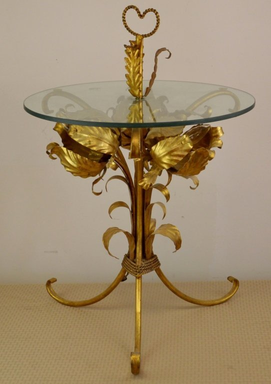 Mid Century Modern Italian Gilt Metal & Glass Table