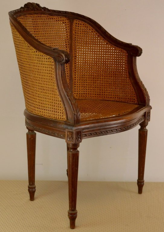 French Fauteuil Double Cane Carved Armchair