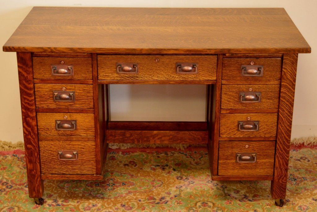 Rare Stickley Brothers Double Pedestal Oak Desk