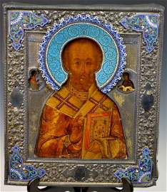 Russian Icon, St. Nicholas Silver and Enamel