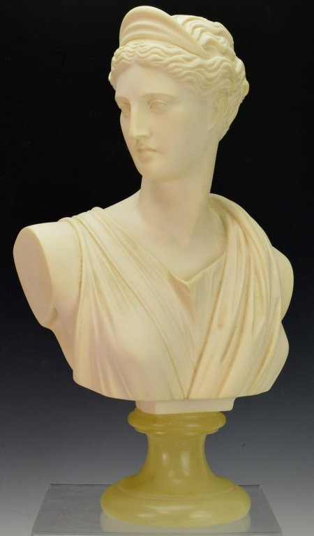 Bust of Diana of Italian Alabaster by A. Giannelli