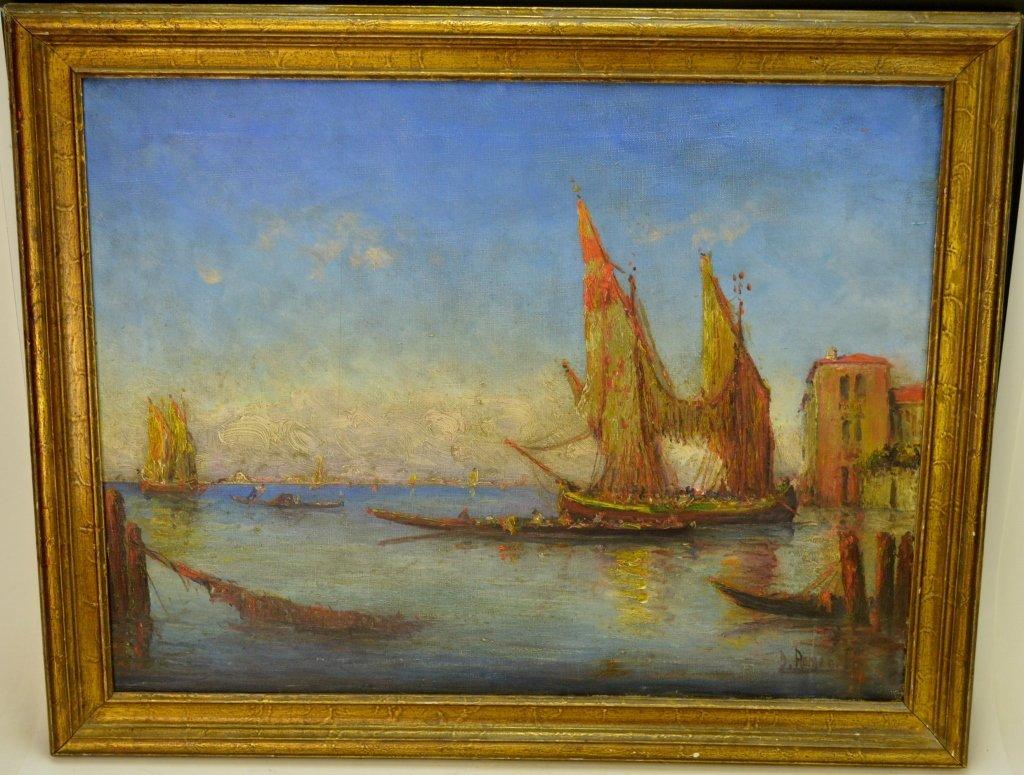 Oil on Canvas Port Scene