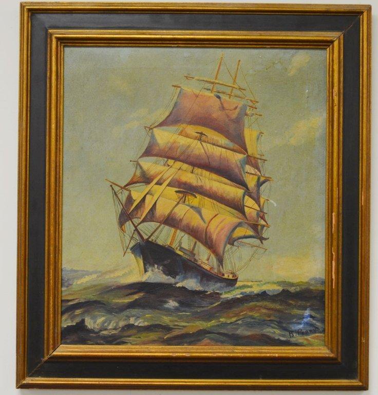 Oil on Canvas Clipper Ship