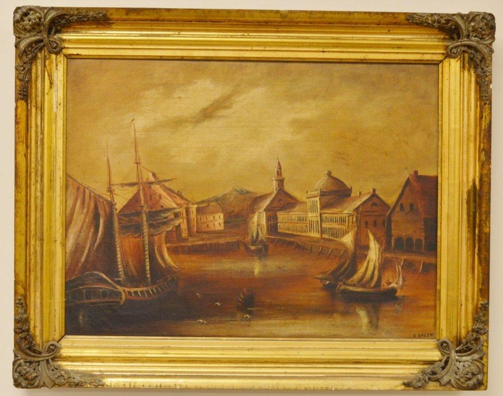 Oil Canvas Port Scene