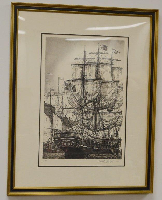 Charles W. Morgan Whale Ship Engraving