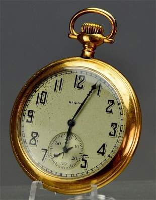 Elgin Gold Filled Open Face Pocket Watch